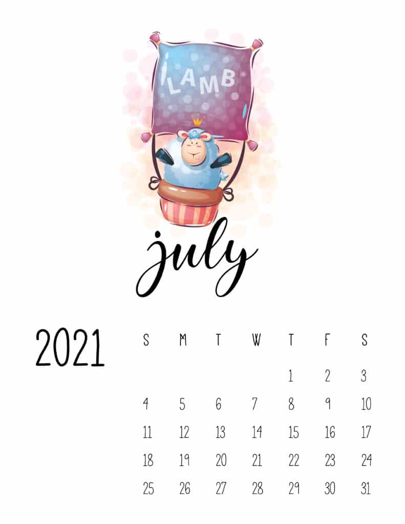 Cute Traveling Animals Calendar July 2021