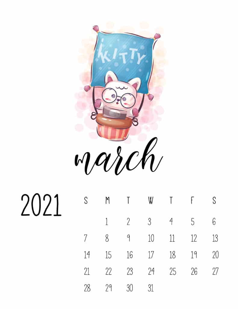 Cute Traveling Animals Calendar March 2021