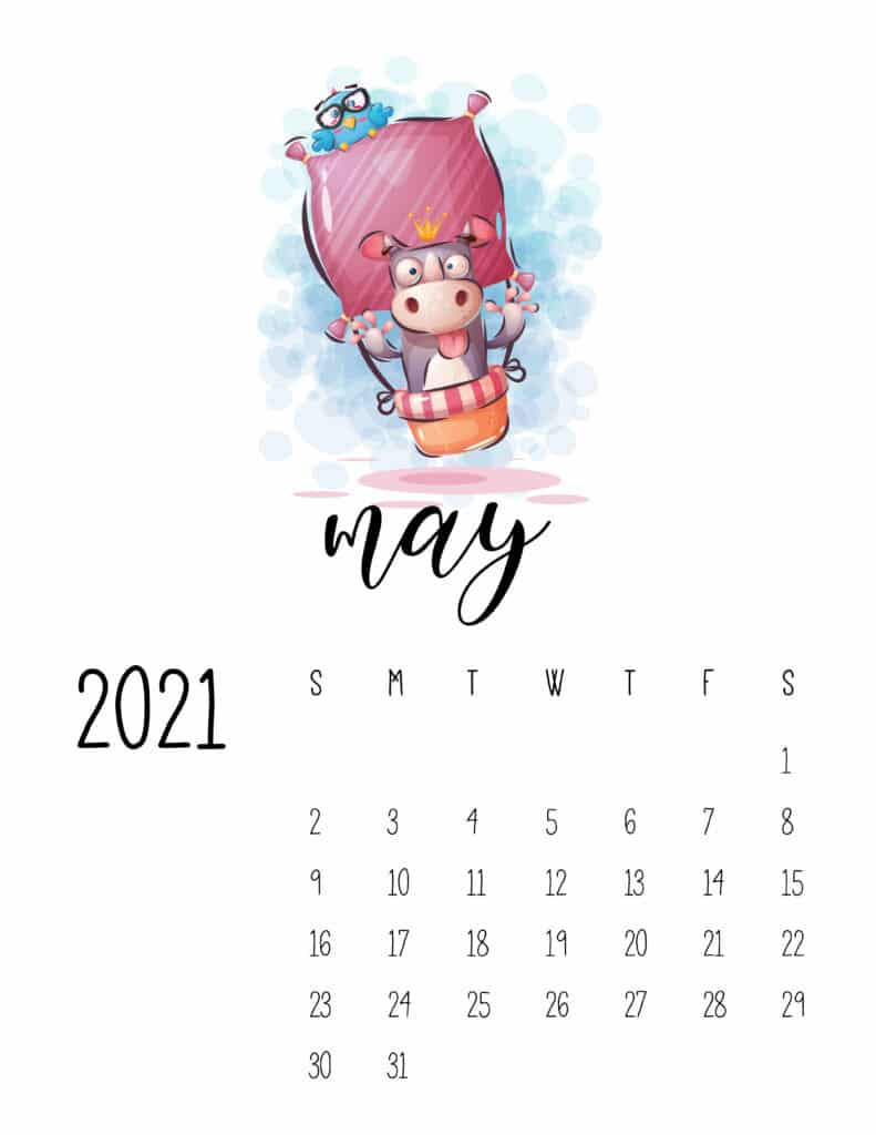 Cute Traveling Animals Calendar May 2021