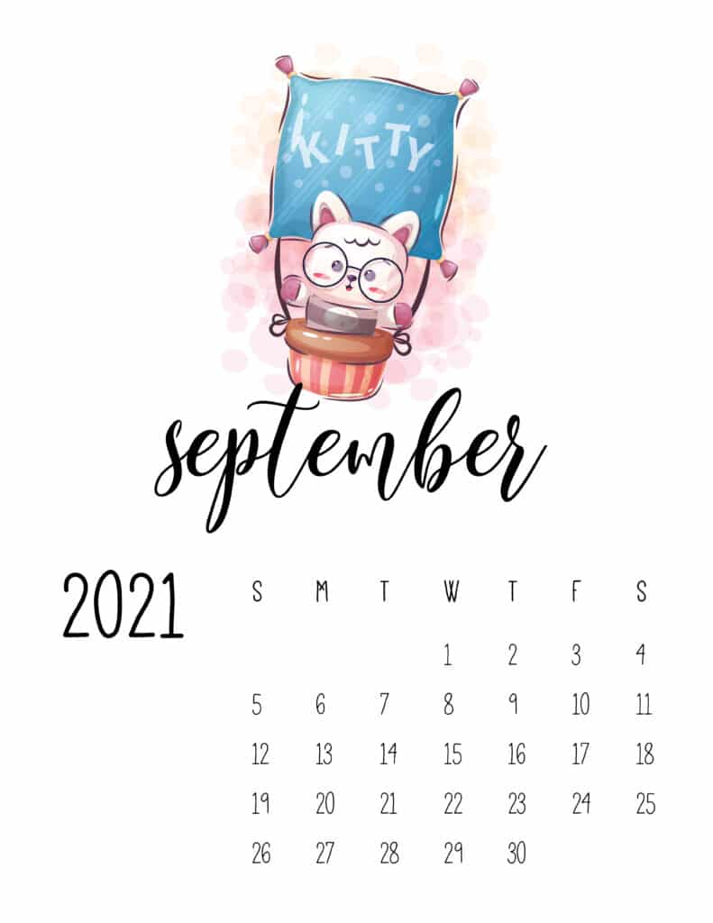 Cute Traveling Animals Calendar September 2021