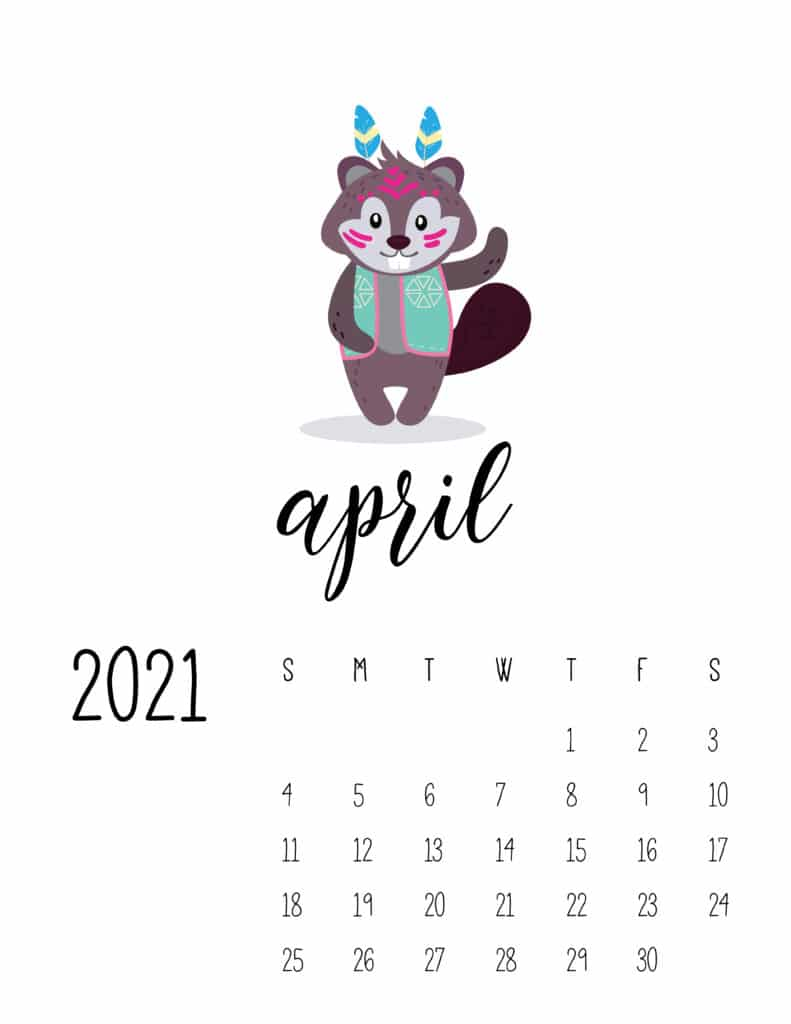 Cute Wild Animals April 2021 Calendar