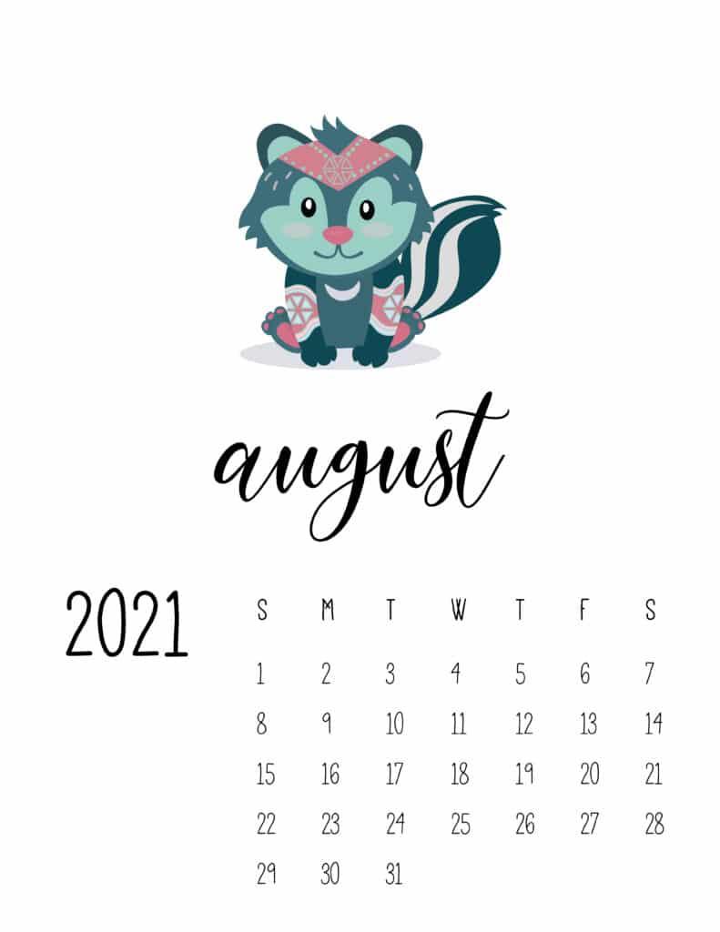 Cute Wild Animals August 2021 Calendar