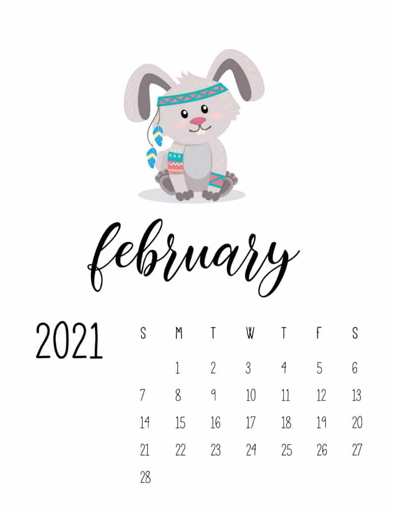 Cute Wild Animals February 2021 Calendar