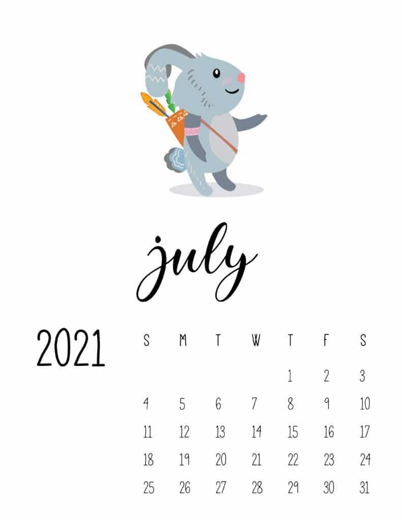 Cute Wild Animals July 2021 Calendar