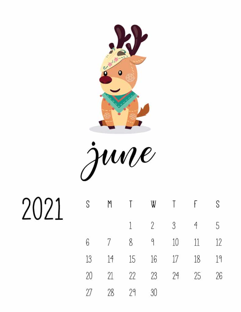 Cute Wild Animals June 2021 Calendar