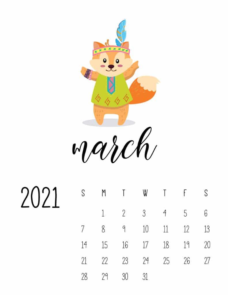 Cute Wild Animals March 2021 Calendar