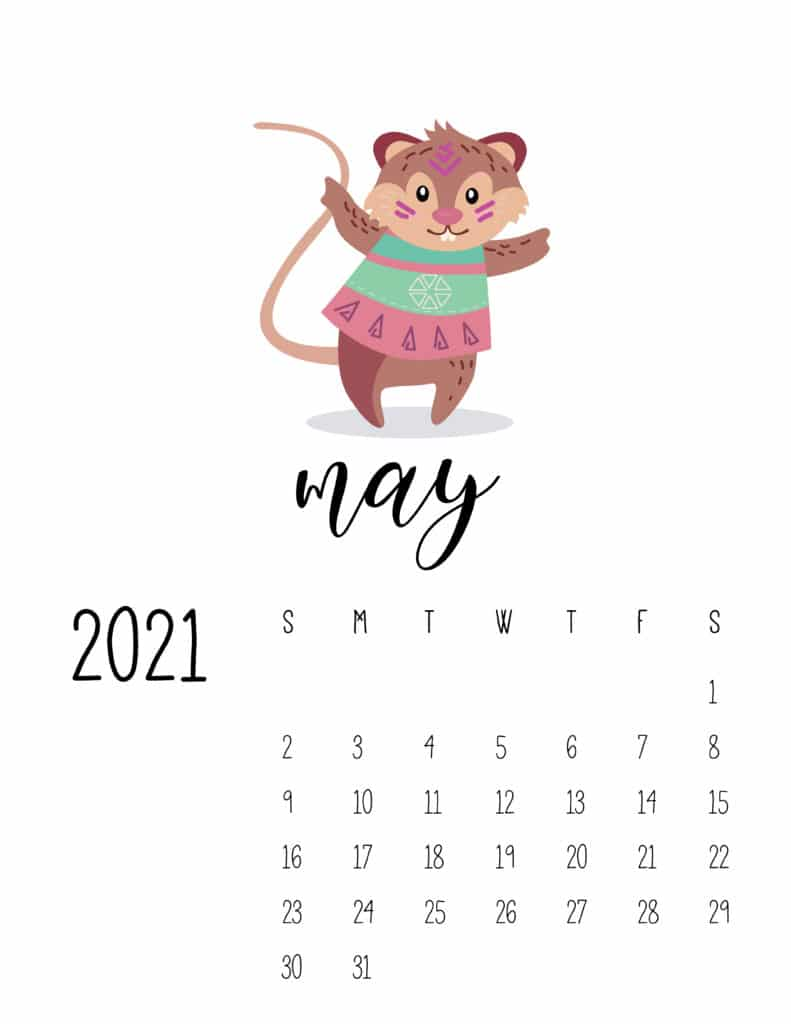 Cute Wild Animals May 2021 Calendar