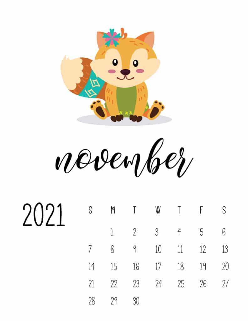 Cute Wild Animals November 2021 Calendar
