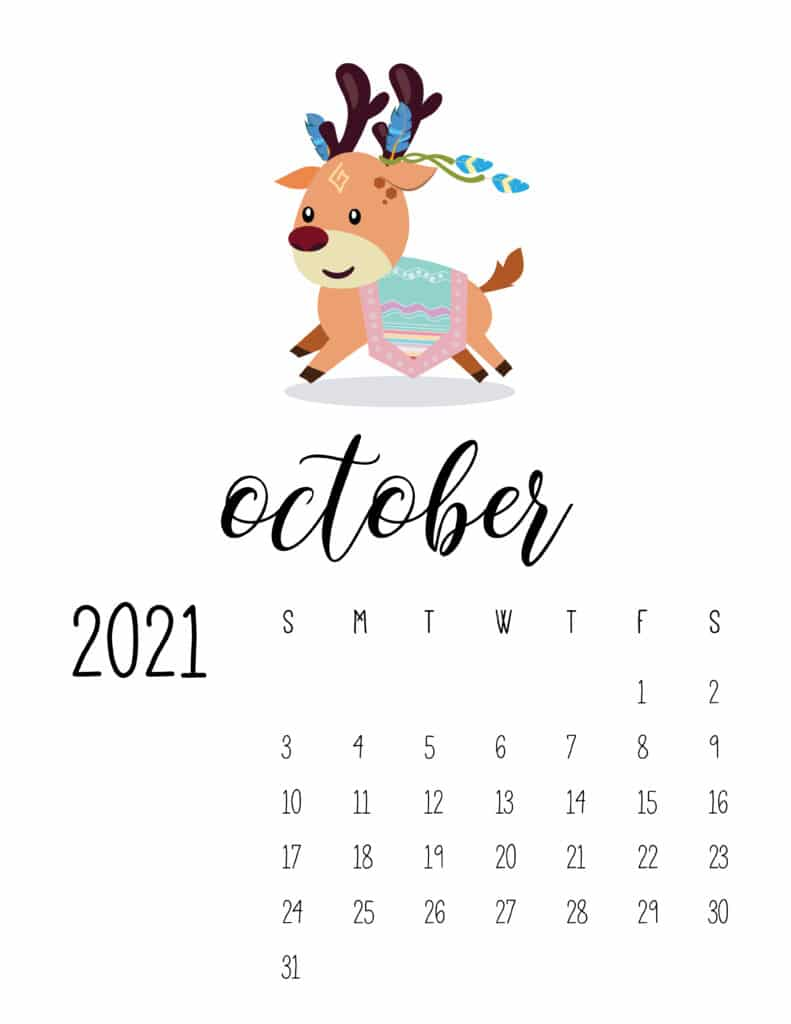 Cute Wild Animals October 2021 Calendar