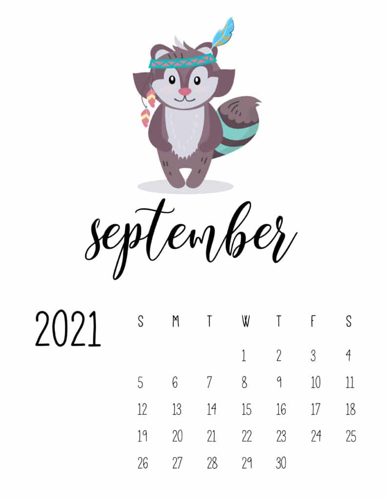 Cute Wild Animals September 2021 Calendar