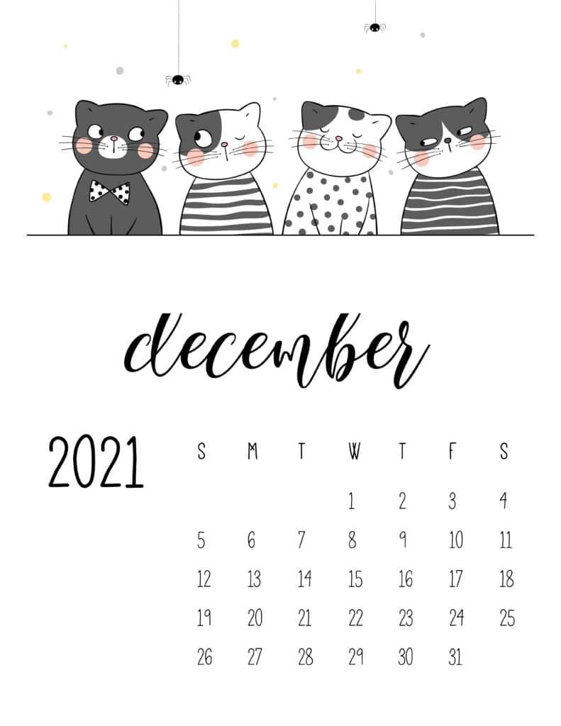 December 2021 Calendar Cute Cats