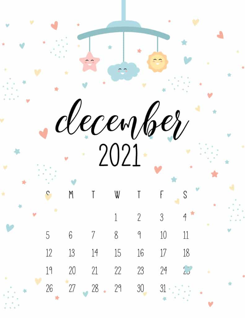 December 2021 Calendar Cute Nursery Mobile