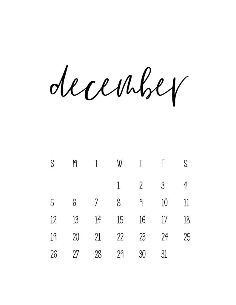 December 2021 Calendar Free Printable Template