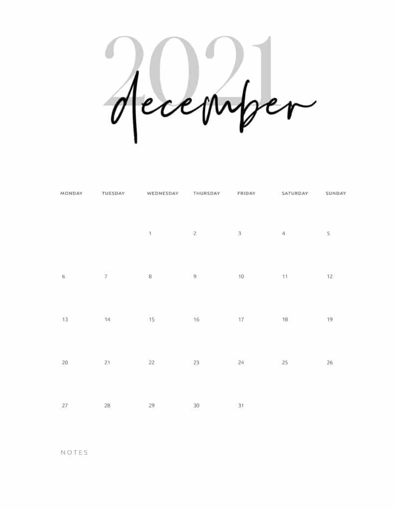 December 2021 Calendar Printable Cursive