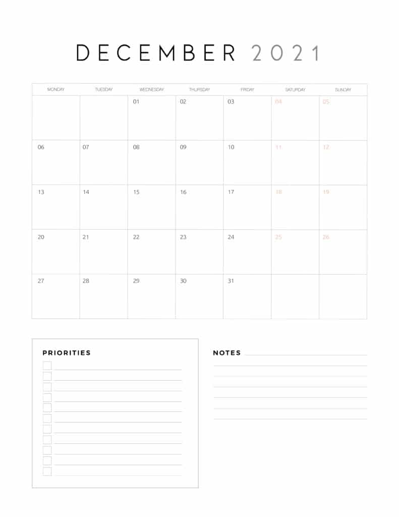 December 2021 Calendar With Priorities And Notes