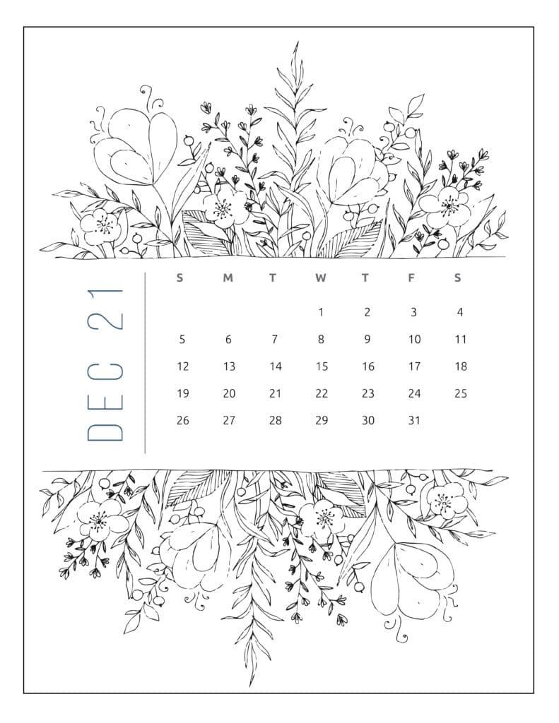 December 2021 Free Printable Calendar Floral Style