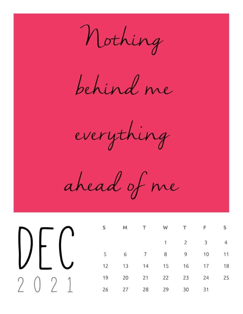 December 2021 Inspirational Quotes Calendar