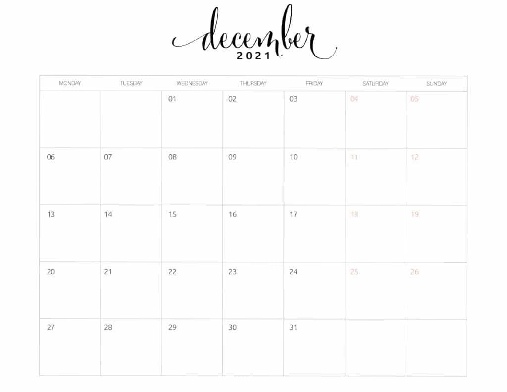 December 2021 Monthly Calendar Monday Start