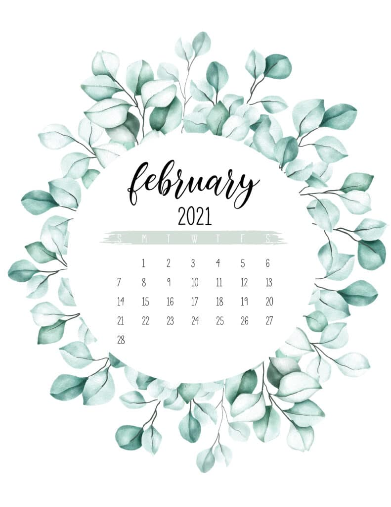 February 2021 Calendar Botanical Theme