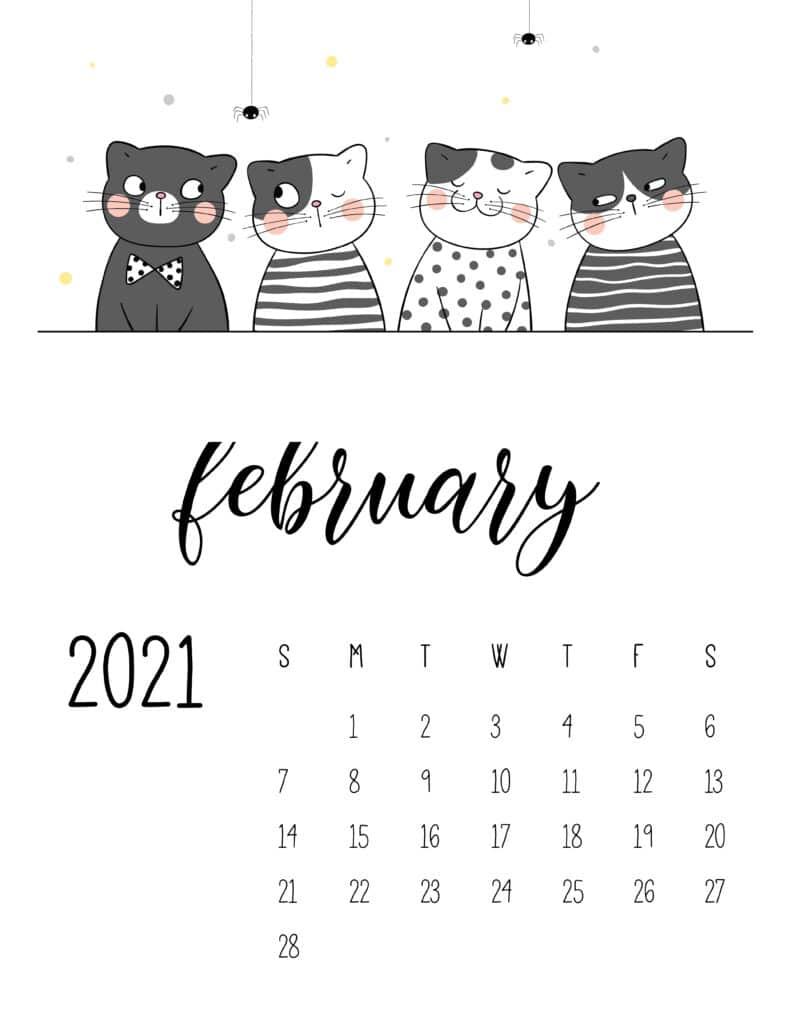 February 2021 Calendar Cute Cats