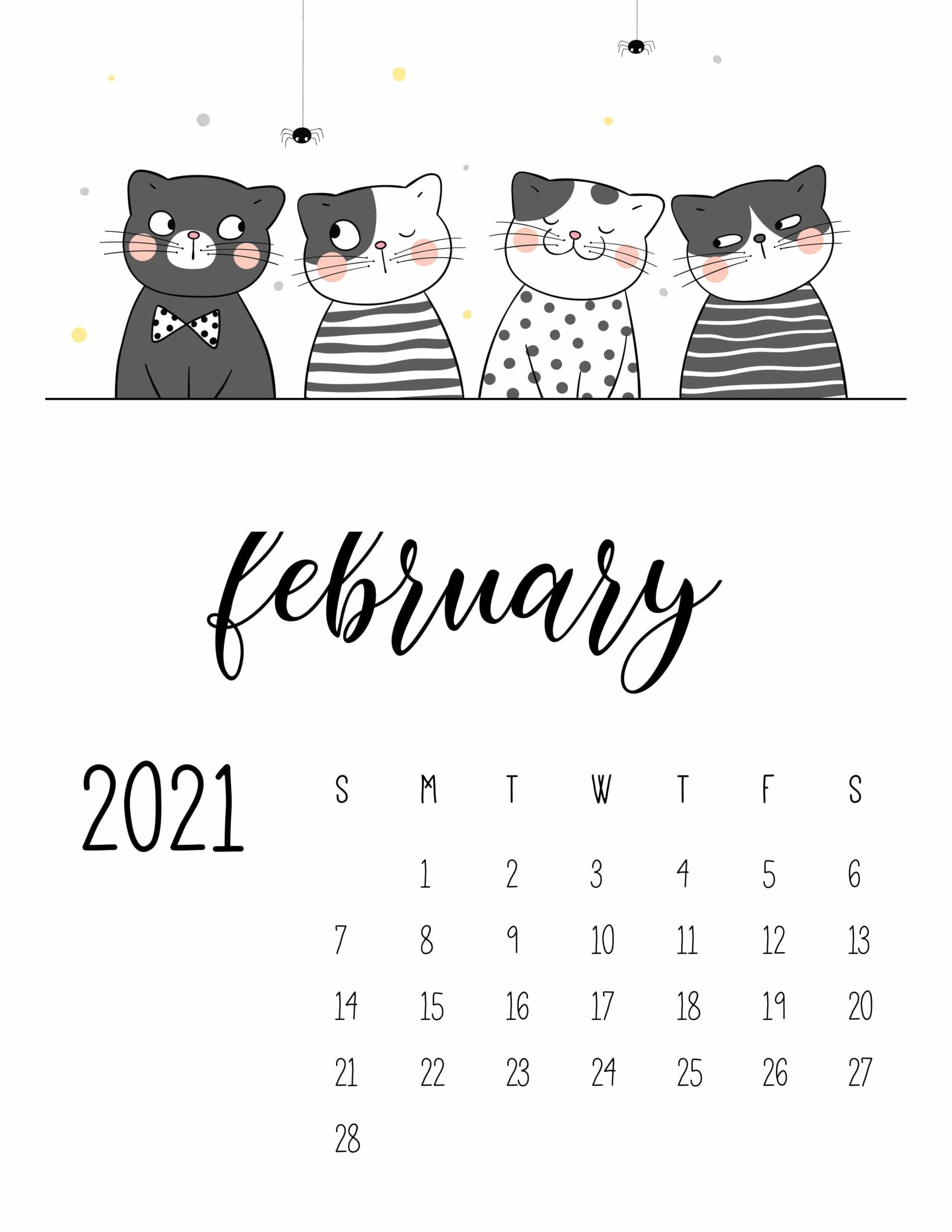 2021 Calendar Cute Cats - World of Printables
