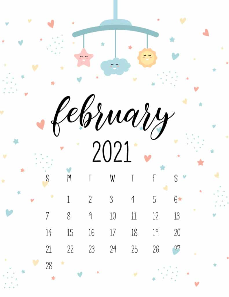 February 2021 Calendar Cute Nursery Mobile