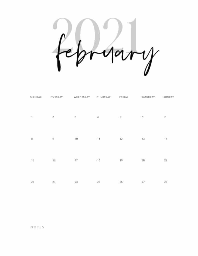 February 2021 Calendar Printable Cursive