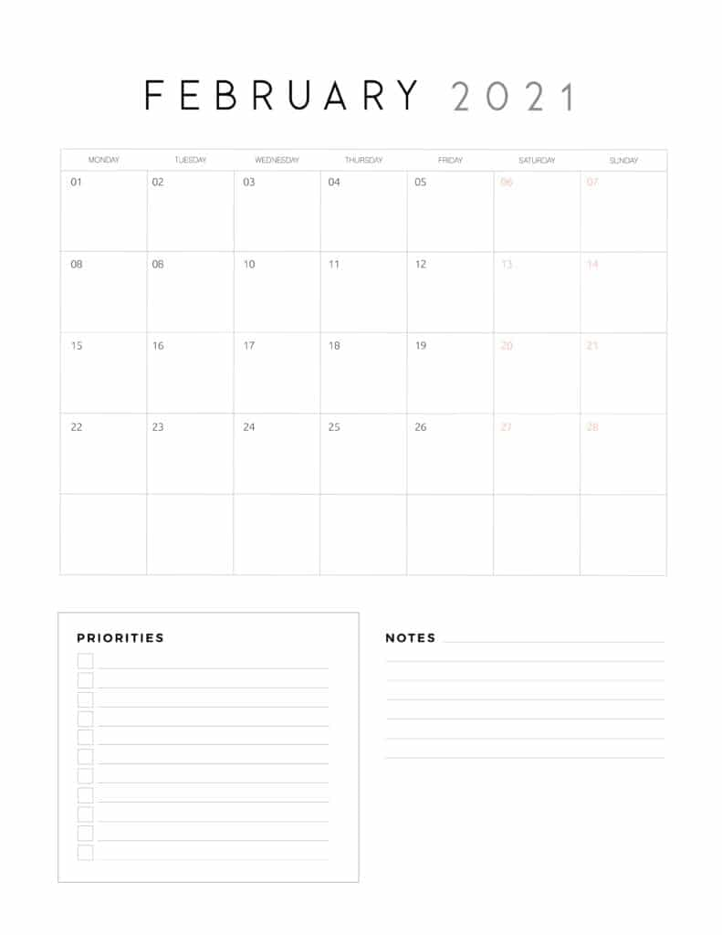 February 2021 Calendar With Priorities And Notes