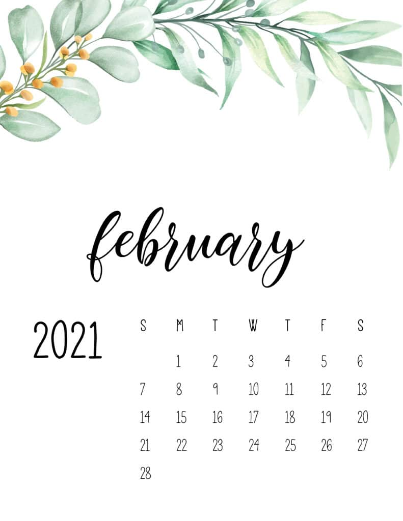February 2021 Floral Calendar