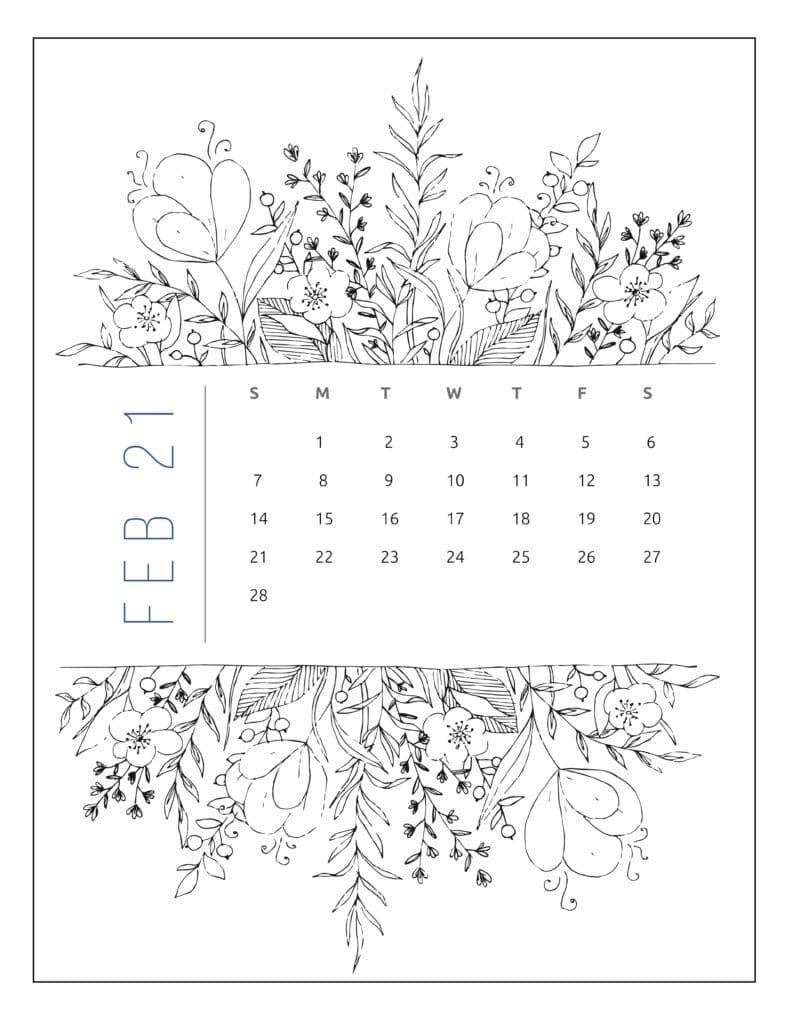 February 2021 Free Printable Calendar Floral Style
