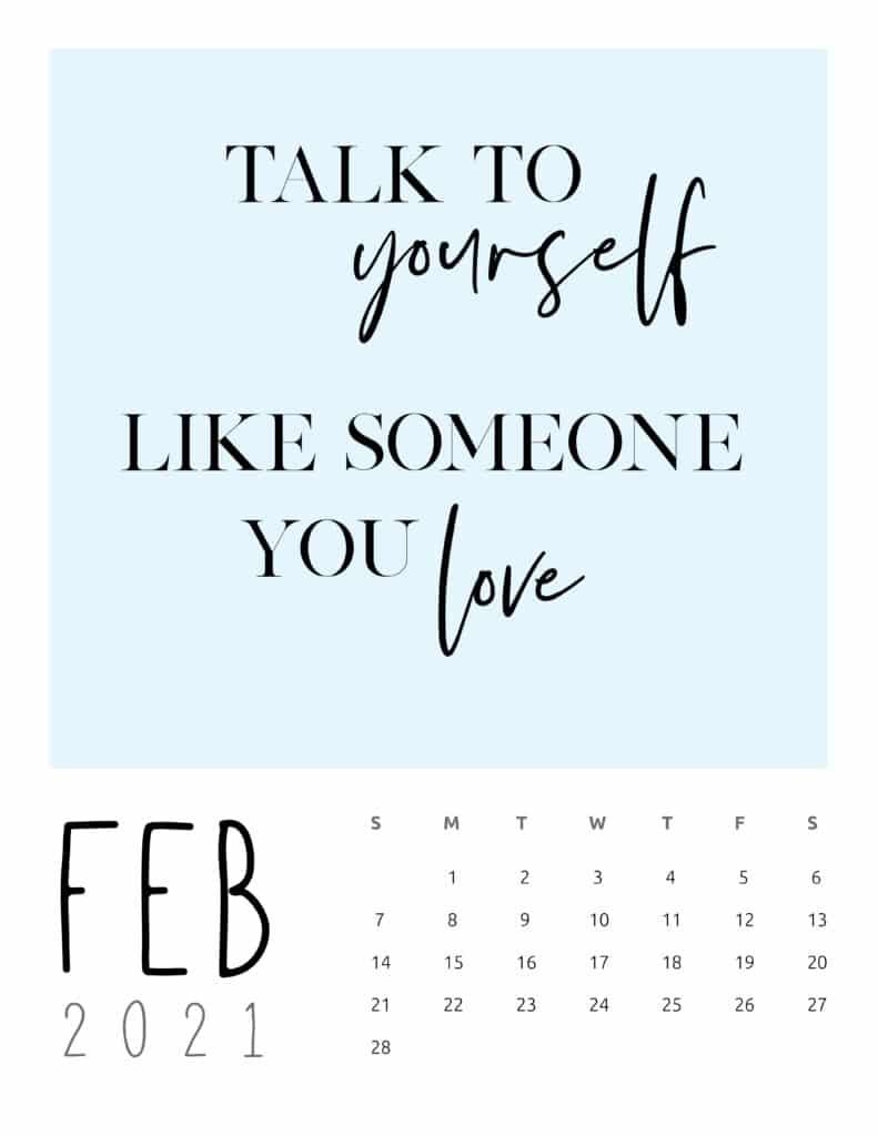 February 2021 Inspirational Quotes Calendar
