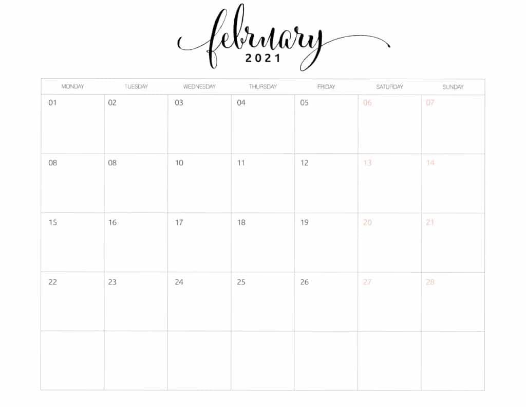 February 2021 Monthly Calendar Monday Start