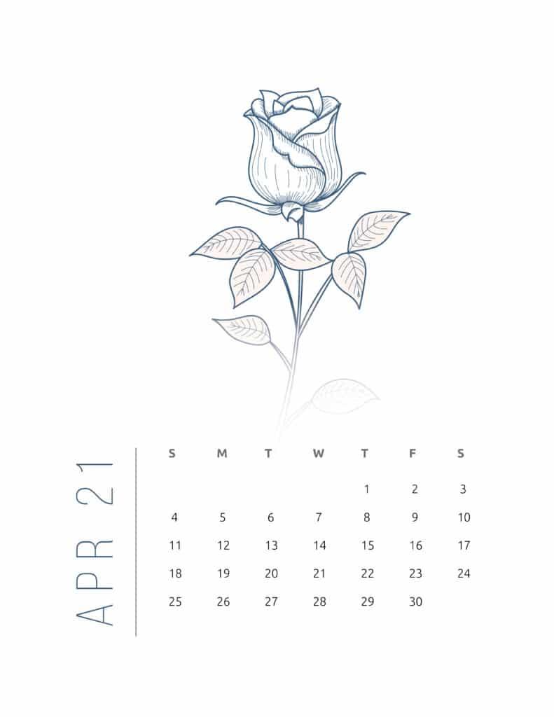 Floral Frame April 2021 Calendar