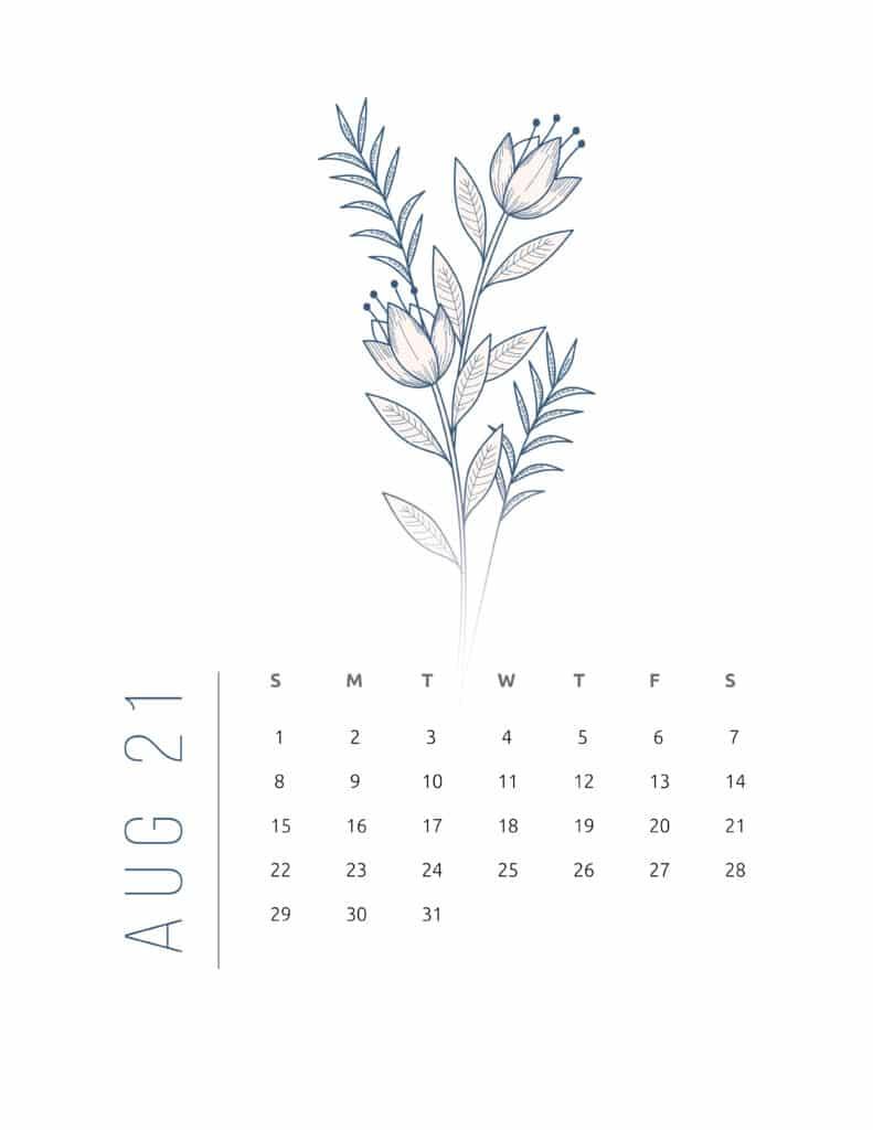 Floral Frame August 2021 Calendar