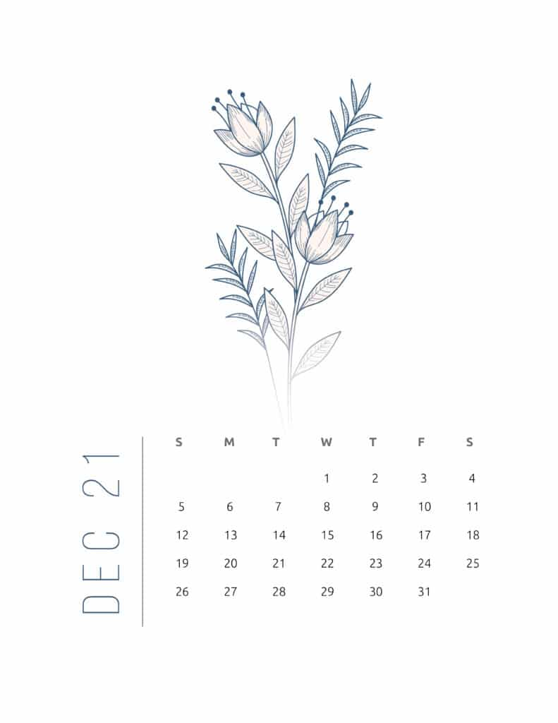 Floral Frame December 2021 Calendar