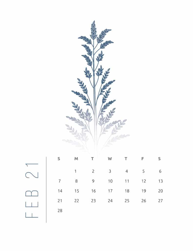 Floral Frame February 2021 Calendar