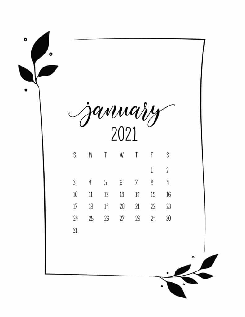 Floral Frame January Calendar 2021
