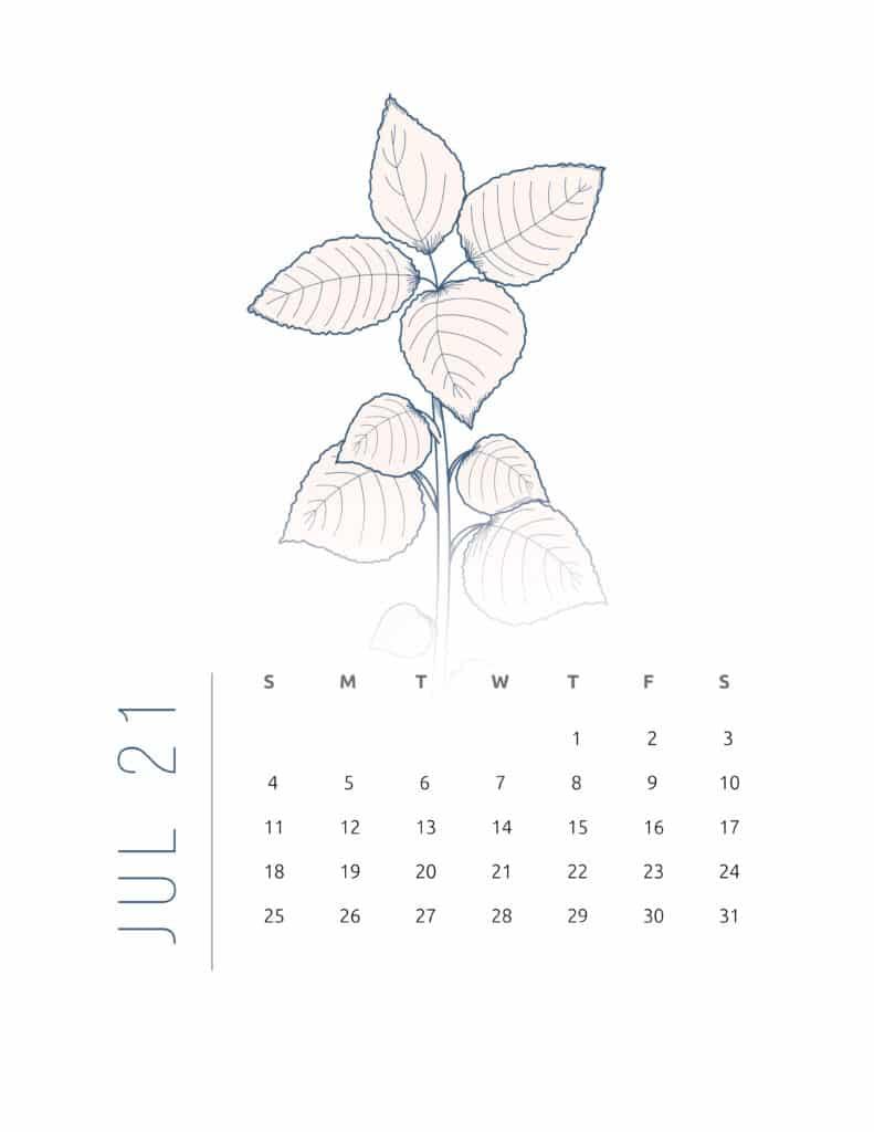 Floral Frame July 2021 Calendar