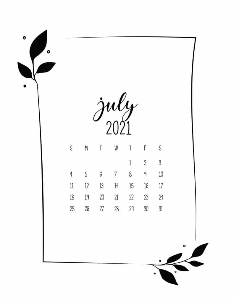 Floral Frame July Calendar 2021