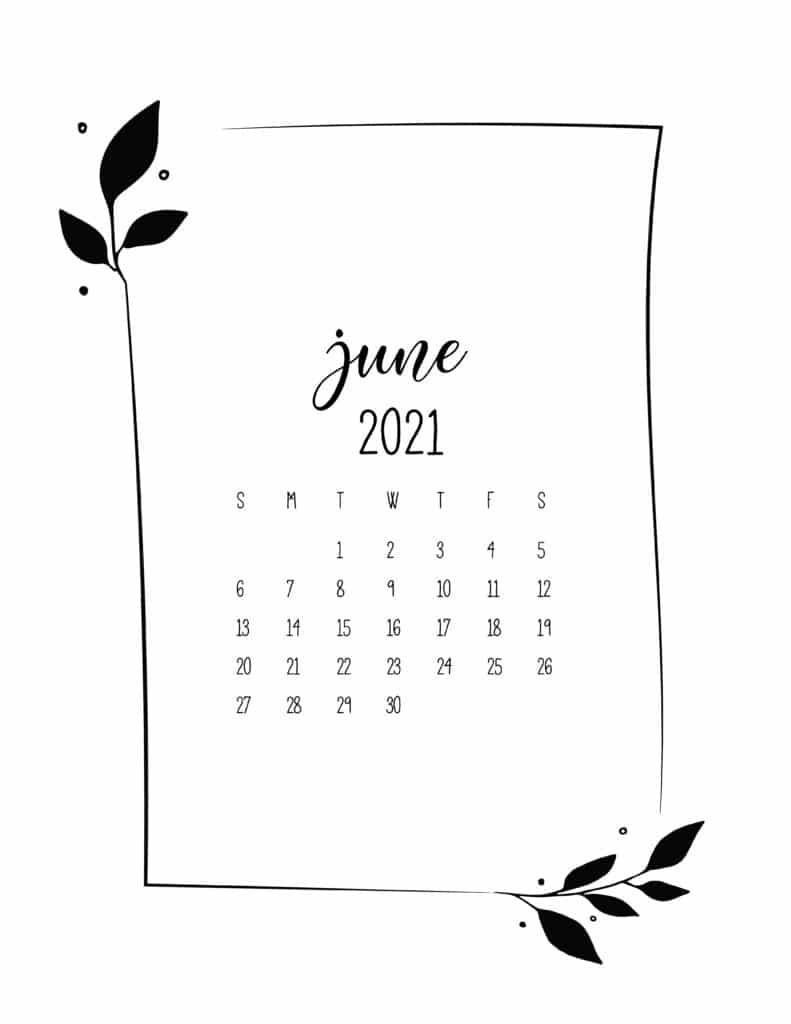 Floral Frame June Calendar 2021