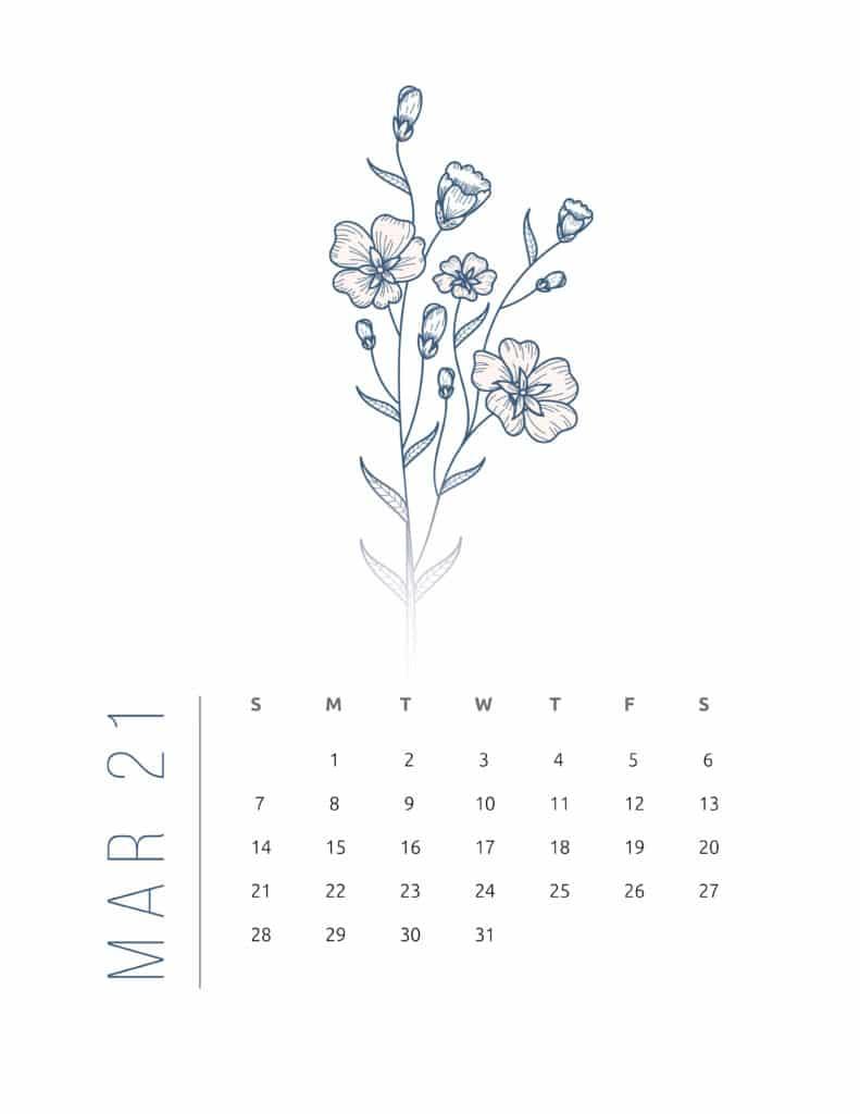 Floral Frame March 2021 Calendar