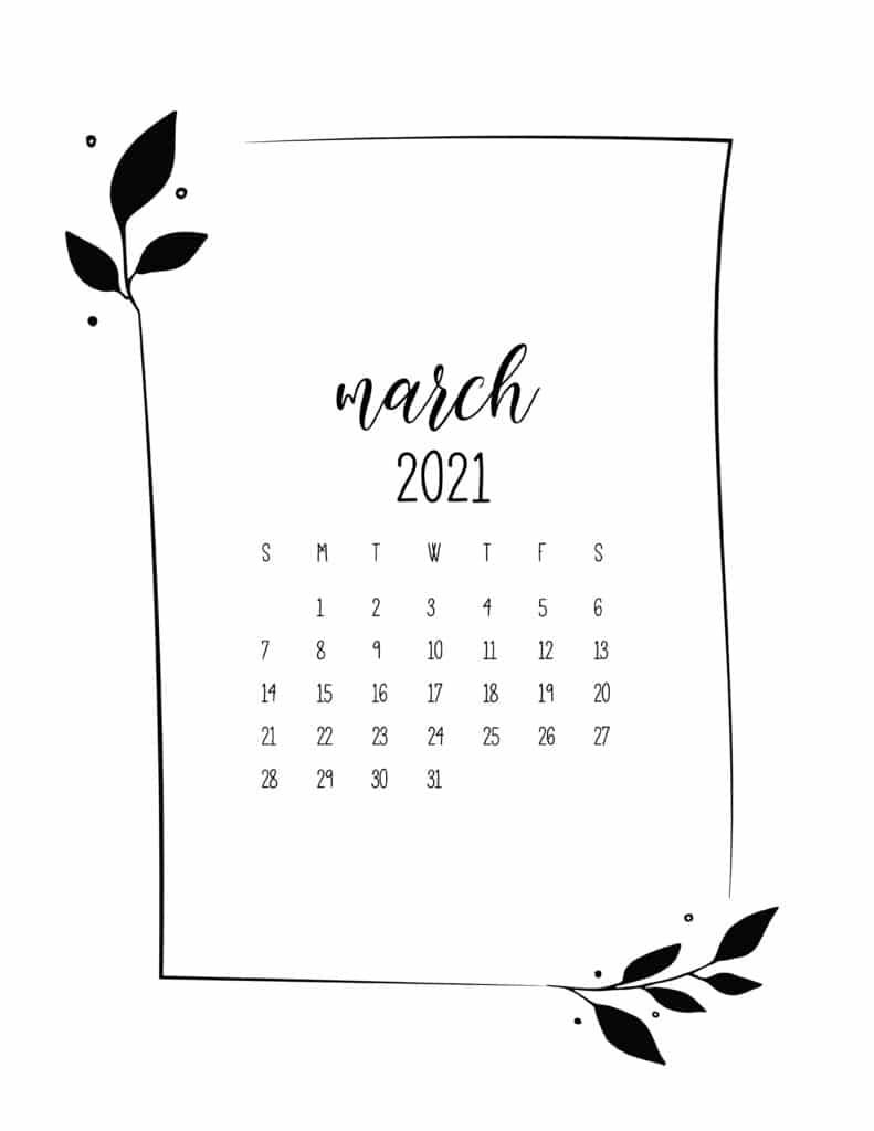 Floral Frame March Calendar 2021