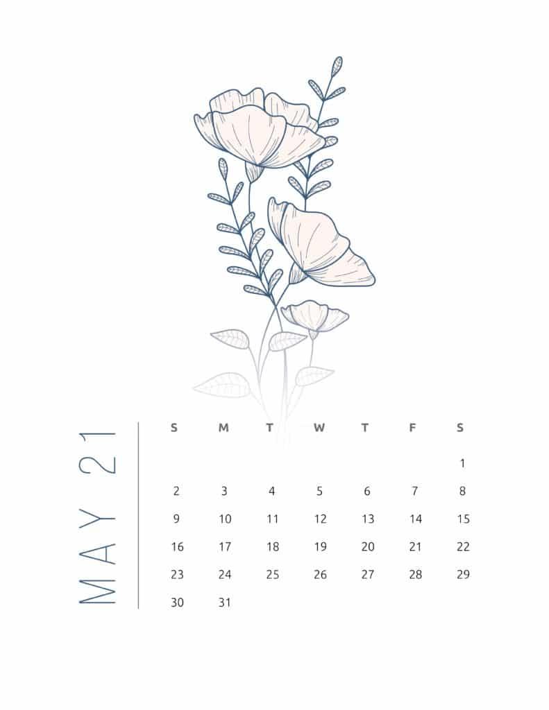Floral Frame May 2021 Calendar