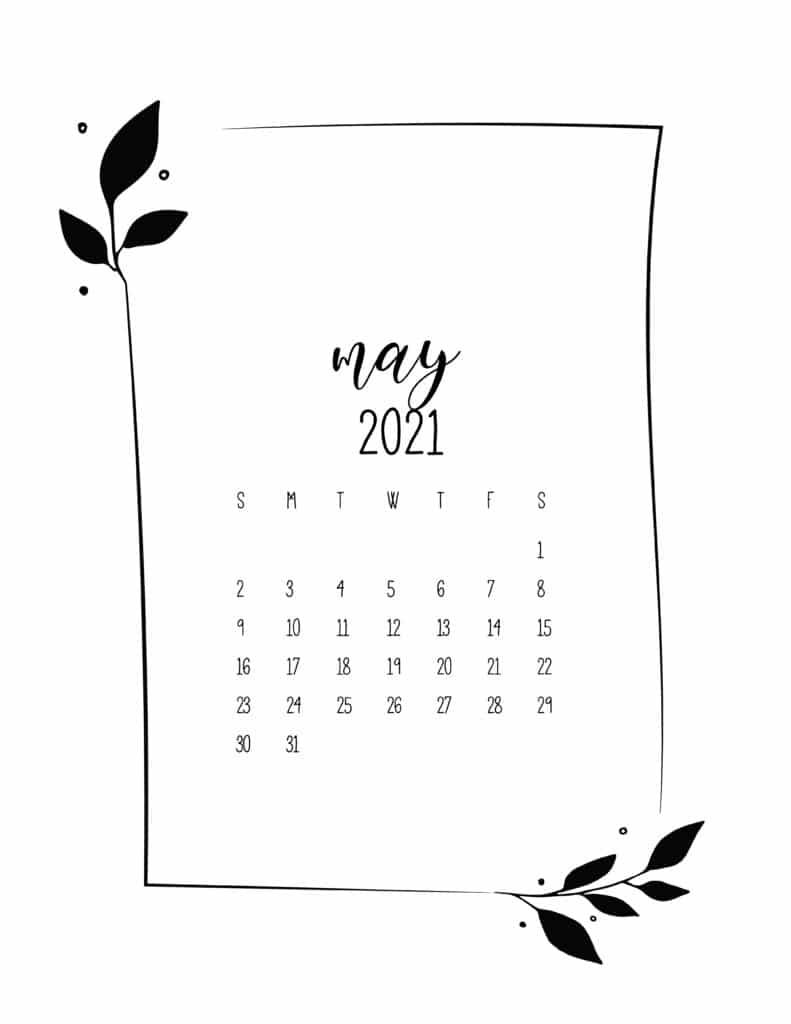 Floral Frame May Calendar 2021