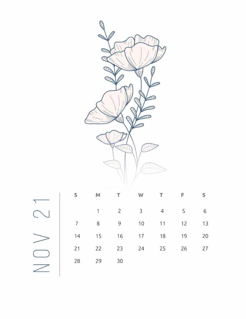 Floral Frame November 2021 Calendar