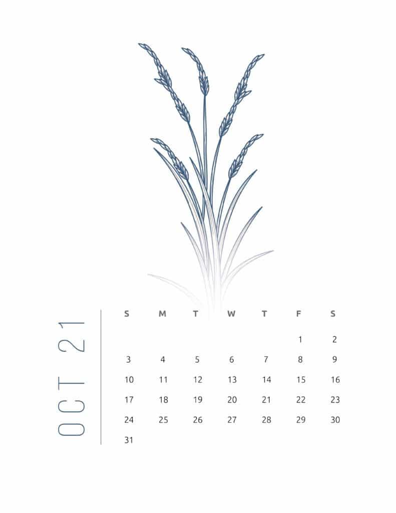 Floral Frame October 2021 Calendar