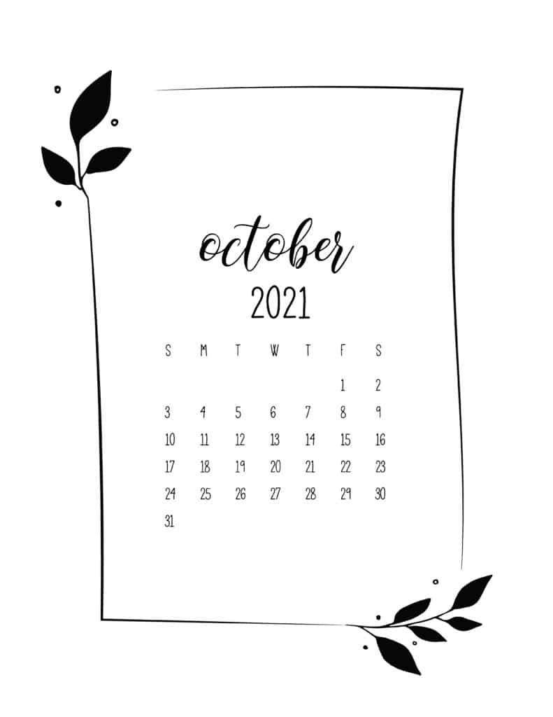 Floral Frame October Calendar 2021