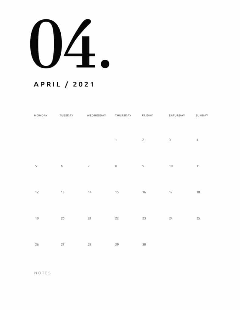 Free April 2021 Calendar Numerical