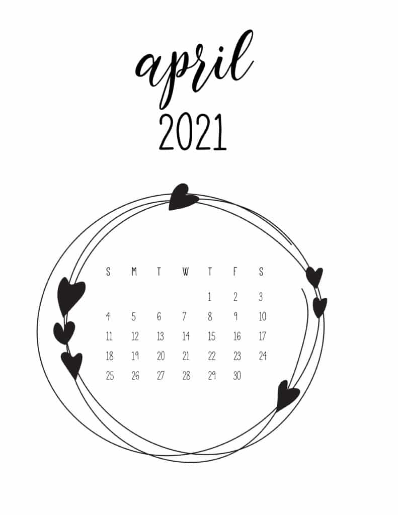 Free April 2021 Floral Frame Calendar