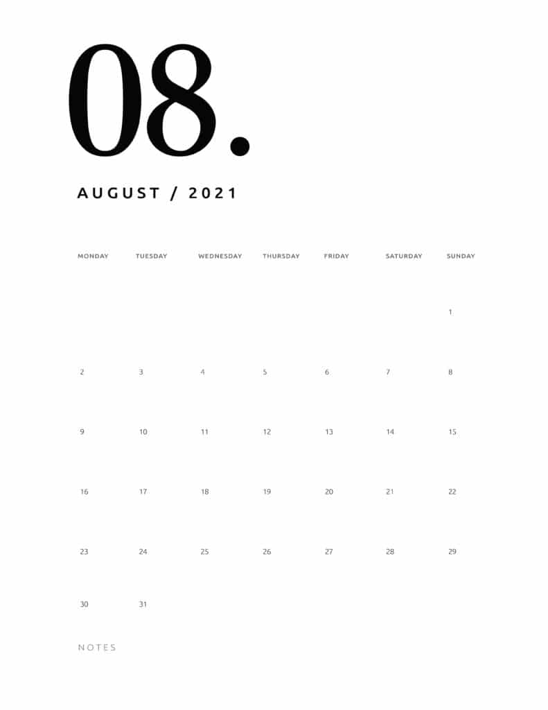 Free August 2021 Calendar Numerical